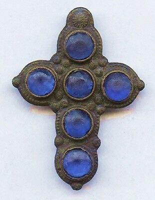 1000 Year Old BYZANTINE CROSS - with Blue Stones - Forensic LAB Authentication