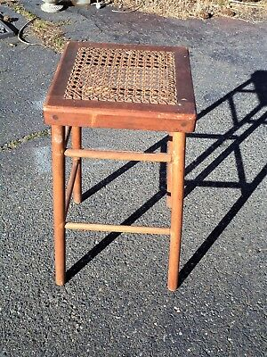 "Antique Folk Art Rush Seat Stool Caned Seating signed stamped MAUDE 26""h"