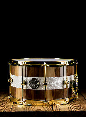 """HHG 8""""x14"""" Calico Walnut Stave Snare Drum - Natural - Free Shipping"""