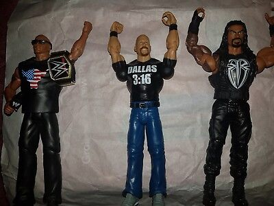WWE WWF Mattel the rock stone cold and roman reigns  Wrestling Action Figures
