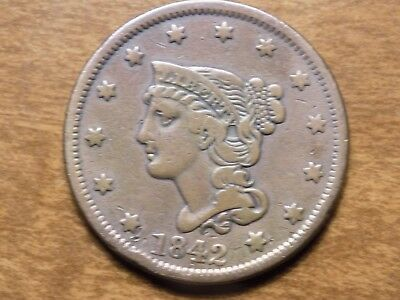 1842 Braided Hair Large Cent Coin-Great Detail!