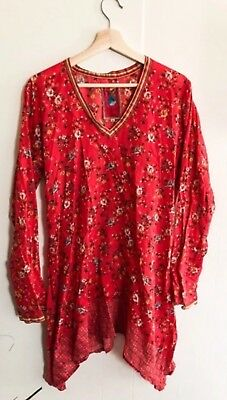 138a25f3588 NWT JOHNNY WAS Betimo Cold-Shoulder Floral-Print Blue Silk Blouse Sz ...