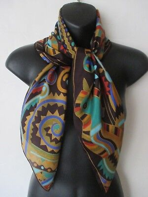 Great CHRISTIAN FISCHBACHER black silk scarf w colorful abstract floral print