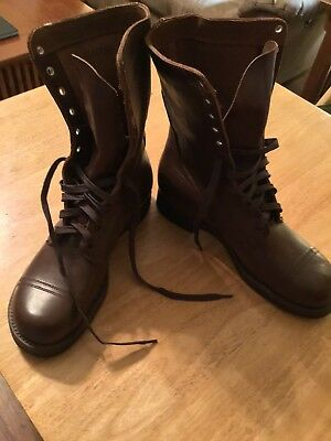 Pre 1950 Brown Leather Combat Boots 9 1/2 D