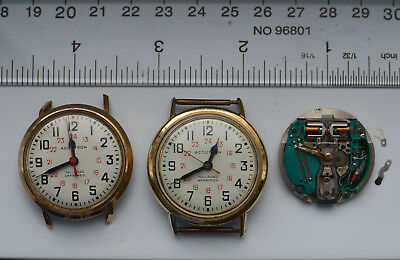 3-LOT Accutron 214 Wristwatch 4 Parts or Repair Spaceview + Railroad 1 GOOD COIL