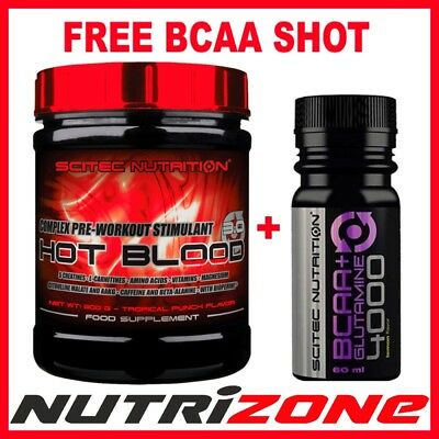 SCITEC NUTRITION HOT BLOOD 3.0 Pre Workout Amino Acids 300g + FREE BCAA SHOT