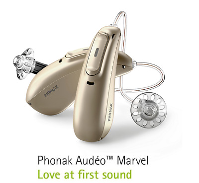 2 BrandNew Phonak Audeo Marvel 90/70/50/30 Rechargeable Hearing Aids+FreeCharger