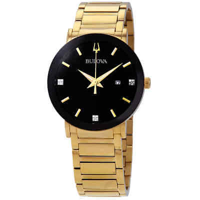 Bulova Diamond Black Dial Yellow Gold-tone Men's Watch 97D116