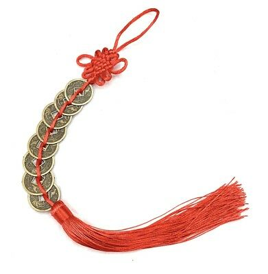 Feng Shui Lucky Red Tassel Coins Chinese Hanging Coin Charm Health Wealth Temple