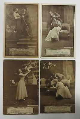 Vintage 1909 Valentine Day Postcard Antique Lot REAL PHOTO Roth & Langley RPPC