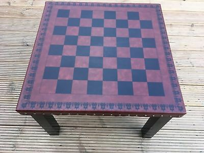 Leather covered Chess Draught Games Table Brown Black Furniture