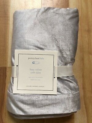 Pottery Barn Kids Baby Luxe Velvet  Crib Bed Skirt Silver Luxurious