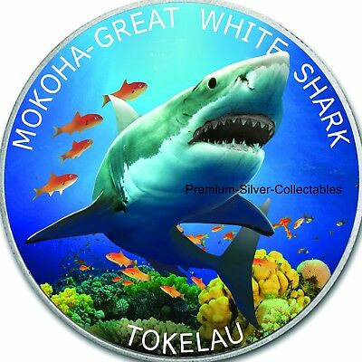 2015 Tokelau Great White Shark 1 Ounce Pure Silver Colorized Fish Coin Series!