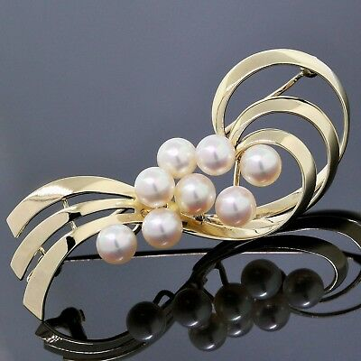 Mikimoto Brooch 14K Yellow Gold ~5.7MM White Pearl Ribbon Vintage Pin