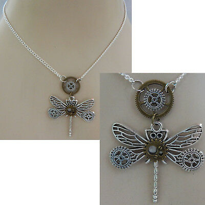 Steampunk Necklace Dragonfly Pendant Jewelry Handmade NEW Cosplay Gears Silver