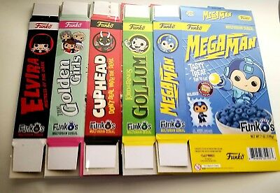 Funko Pop! Cereal Boxes *BOXES ONLY* Elvira Golden Girls Gollum Mega Man Cuphead