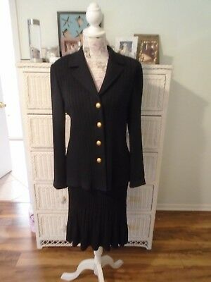 ST. JOHN Collection by Marie Gray Pre-owned 3 Piece Black Suit Size 8