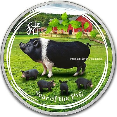 2019 Australia Silver Lunar Year of the Pig - 1 Ounce Pure Silver Colorized!