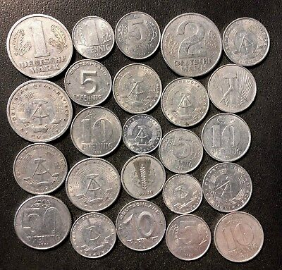 Old East Germany/DDR Coin Lot - 1949-ColdWar - 24 Great Coins - Lot #J11