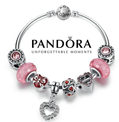 Authentic Pandora Bangle Bracelet Silver S925 with Charms Love Heart Valentine