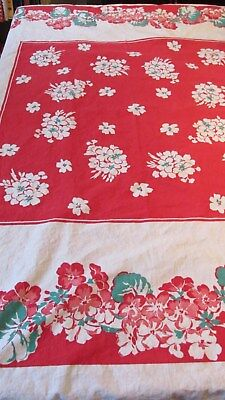 """""red & White Geranium Tablecloth"""" - Vintage - 44 X 46"