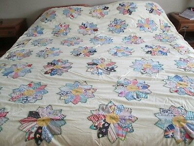 Vintage Hand/machine Made Quilt Multicolor Applied Stars Yellow Background