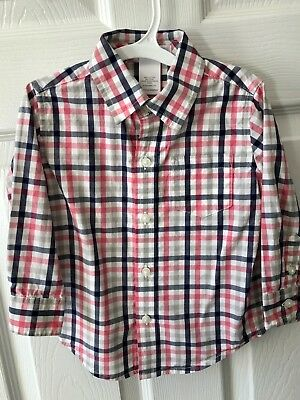 Janie And Jack Boys Button Down Shirt Plaid Long Sleeve Baby Size 12-18 Months