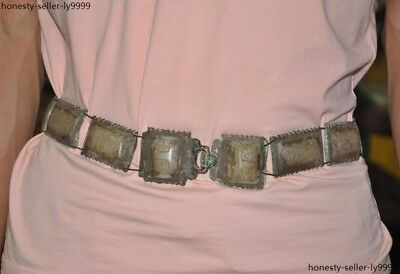 Ancient Old Chinese bronze Inlay White jade dynasty palace Dragon Emperor Belt