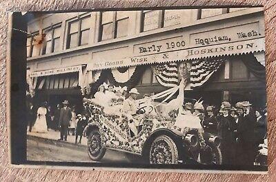 Parade Street Scene Possibly Hoquiam WA, Wise & Hoskinson Dry Goods Antique RPPC