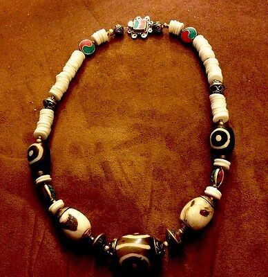 DZI Wood Bead Handcrafted Nepali Inlaid Turquoise &Coral Brass Necklace SALE 109