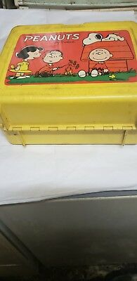 1965 Vintage Used Peanuts Lunch Box Plastic By Thermos Charlie Brown Snoopy