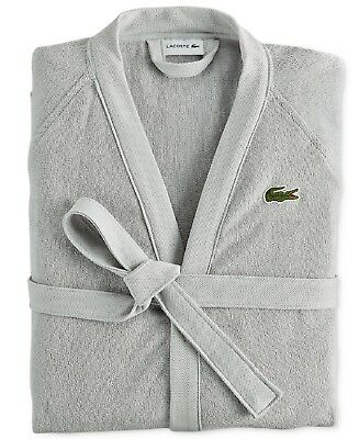 Lacoste Home Pique 100% Cotton Bath Robe Micro Chip One Size - MISSING BELT