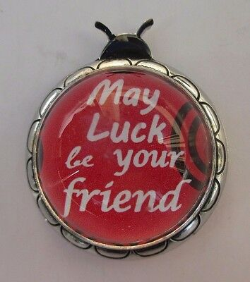 L May luck be your friend LADYBUG MESSAGE FIGURINE miniature ganz