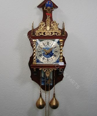 Walnut Zaandam Or Zaanse Wall Clock With Atlas And Blue Delft Tiles