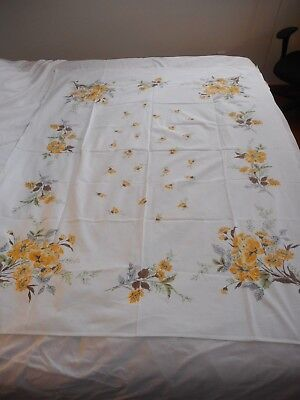 Vintage Estate find Yellow floral rectangle Tablecloth