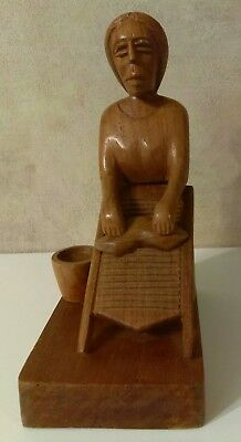 VINTAGE WOOD FOLK ART WOMAN WITH WASHING BOARD, Primitive Hand Carved Wood Lady