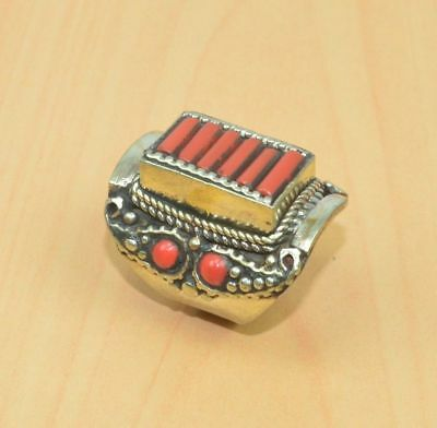 925 Tibetan Silver Red Coral  Big Ring Ue34107