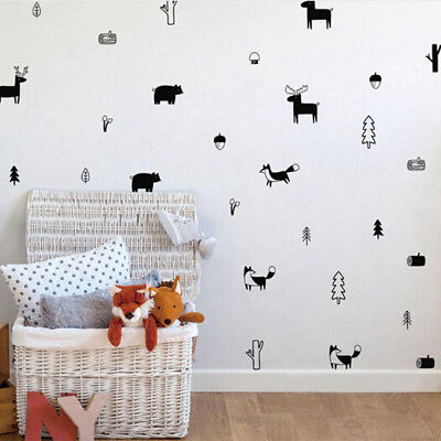 Baby Nordic Style Animals Silhouette For Nursery Decor Wall Art Stickers TO