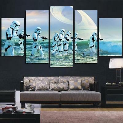 5 Panel Star Wars Stormtrooper Blue Wall Art Canvas