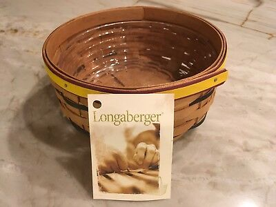 "Longaberger 2009 7"" Warm Brown Keeping Basket yellow & black accents & protector"