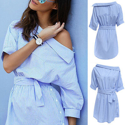 Women Lady Fashion Casual Stripped Sloping Shoulder Half Sleeve Mini Shirt Dress