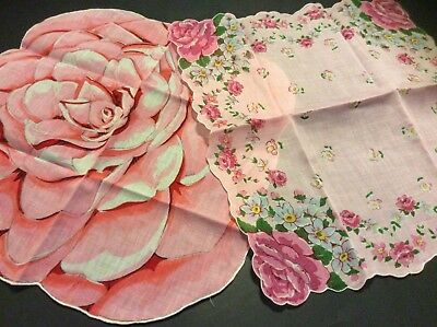 2 Vtg Hankies Pink Rose Bouquets Valentine Romantic Floral Old Fashioned Lot