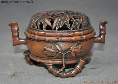 """6"""" Marked Ancient Old Chinese dynasty bronze bamboo statue Incense Burner censer"""