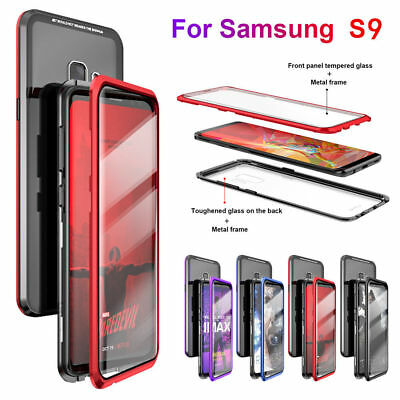 Magnetic Adsorption Metal Tempered Glass Front+Back Cover Case For Samsung S9/ +