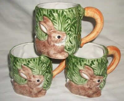 Rabbit Mugs Cup Omnibus 1987 Lot 3 Early EASTER Prize Great Basket Idea