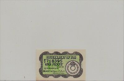 Fiji 1 Penny note, 1942 WWII Emergency Issue, P#47, CU