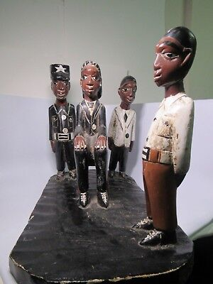 "Antique African Wood Carved Folk Art ""The Trial"" Sculpture 20"" Long"