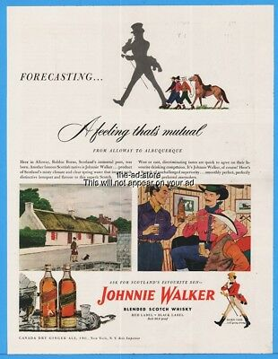 1949 Johnnie Walker Red Black Label Scotch Whiskey Alloway Robbie Burn Cowboy Ad