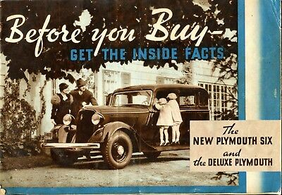 Vintage 1930's Plymouth Six & De Luxe Advertising Brochure * Before you buy