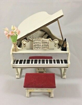 Princess Music Doll House Vintage Miniature Baby Grand Piano Bench Petite